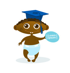 cute african american baby boy weating graduation vector image vector image