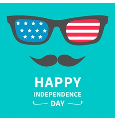 Glasses and mustaches Happy independence day vector image