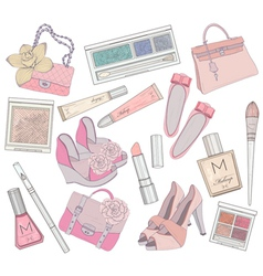 shoes makeup and bags element set vector image vector image
