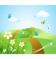 spring meadow beautiful vector image vector image