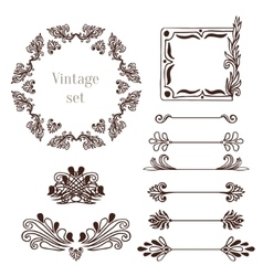 Vintage frames and border elements vector image