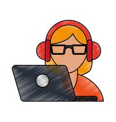 color pencil cartoon half body woman customer vector image vector image