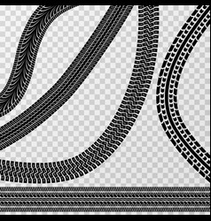 different tire car and bike tracks isolated on vector image
