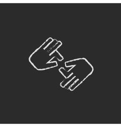 Finger language icon drawn in chalk vector image