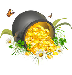 Overturned pot of gold coins Cauldron of gold vector image vector image