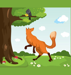 red fox and crow with cheese funny characters vector image
