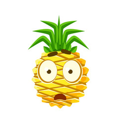 scared pineapple face cute cartoon emoji vector image vector image