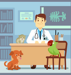 veterinary office with doctor and pets vector image vector image