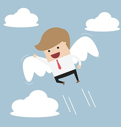 Businessman flying with wings vector image vector image