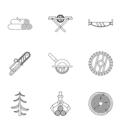 Cleaver icons set outline style vector image