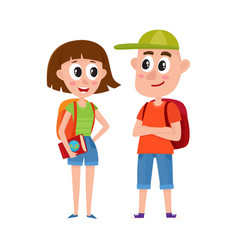 couple of tourists man and woman with backpacks vector image