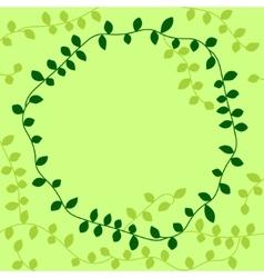 Green vine leaves circle frame vector image