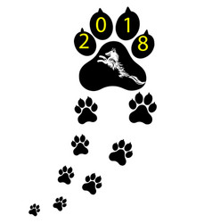 pet symbol footprints of dog puppy animal of vector image