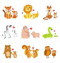 Small Animals And Their Dads Set vector image vector image