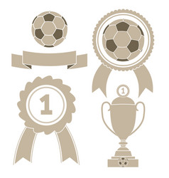 soccer icon ball ribbon award cu vector image