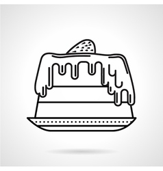 Strawberry cake black line icon vector image