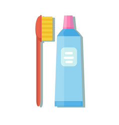 tube of toothpaste and toothbrush vector image