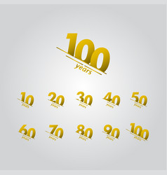 100 years anniversary celebration gold line vector
