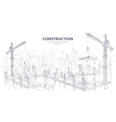 abstract construction site with building equipment vector image