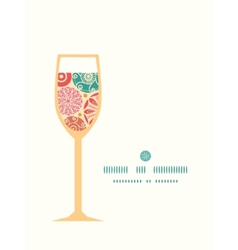 Abstract decorative circles wine glass silhouette vector