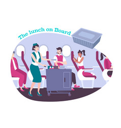 Airplane lunch flat background vector