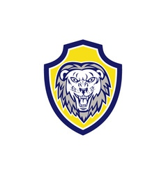 Angry Lion Head Roar Shield Retro vector