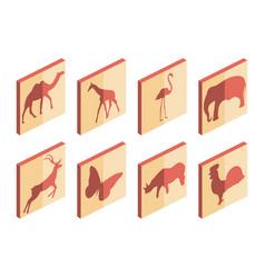 animal isometric icon set mammals and birds vector image