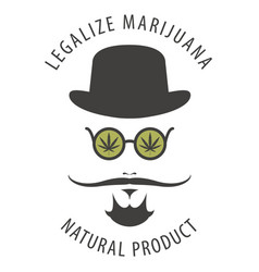 banner for legalize marijuana with hipster man vector image