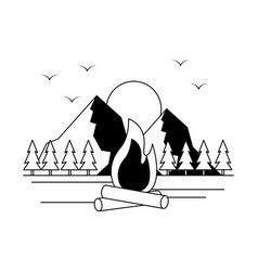bonfire mountains camping wanderlust image vector image