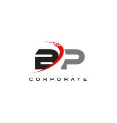 bp modern letter logo design with swoosh vector image