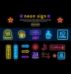bright colorful advertising neon signs set vector image