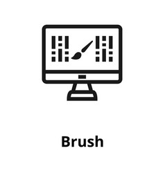 brush on monitor thin line icon vector image