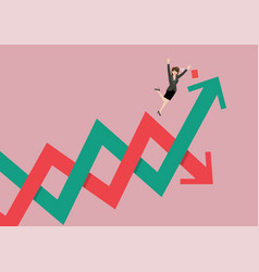 business woman losing her balance on stock market vector image