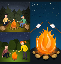 Campfire marshmallow banner set cartoon style vector