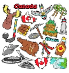 Canada Travel Scrapbook Stickers Patches Badges vector