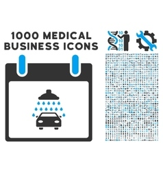 Car Shower Calendar Day Icon With 1000 Medical vector