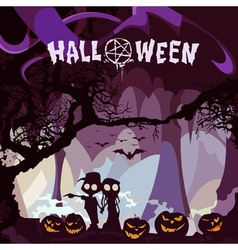 cartoon couple with pumpkins on Halloween night vector image