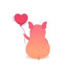 cartoon pig holding balloon vector image