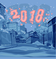 cartoon street of old town in the winter of 2018 vector image