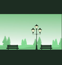chair and street lamp landscape of silhouettes vector image