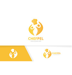 chef hat and people logo combination vector image