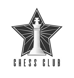 chess club black and white emblem with chess king vector image