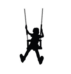 child happy silhouette on swing one vector image