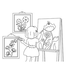 Children coloring a girl draws pictures flowers vector