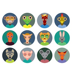 Chinese zodiac collection Set of animals faces vector