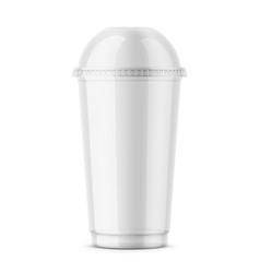 Clear disposable plastic cup with dome lid vector