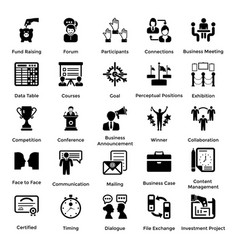 Collection of business and management glyph icons vector