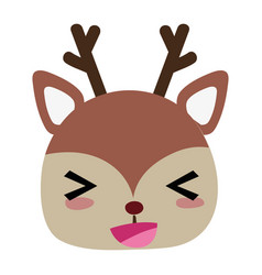 Colorful cheerful deer head wild animal vector
