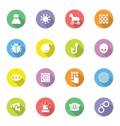 Colorful flat icon set 7 on circle with long shado vector