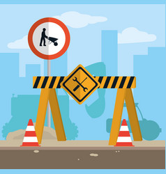 Construction zone with elements vector